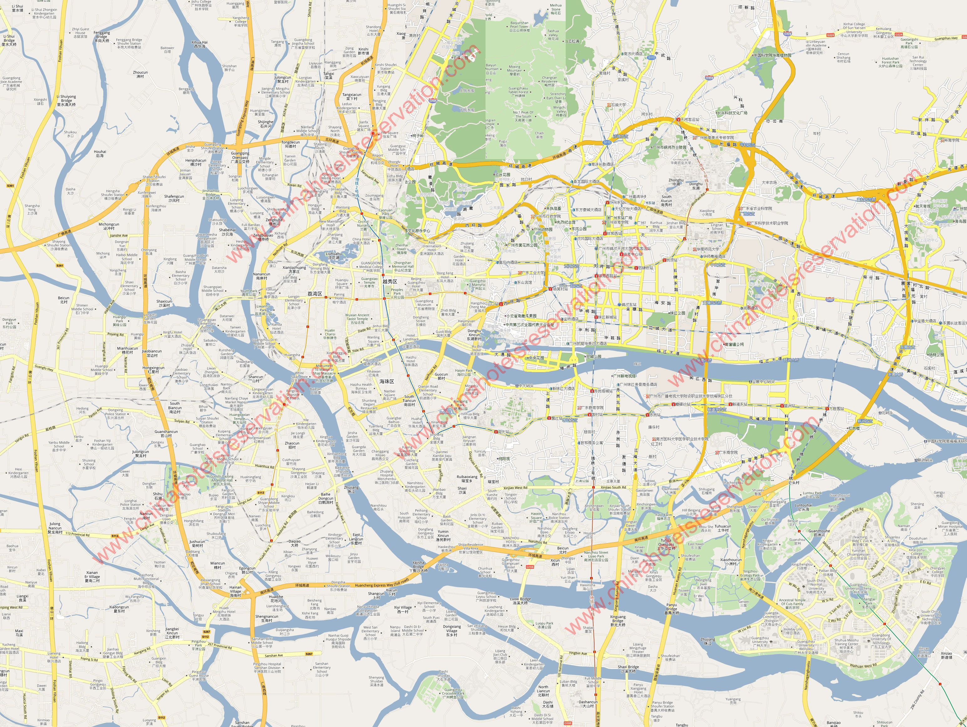 City street map of guangzhou hotels linkable on the map guangzhou here for guangzhou full mapfull canton map gumiabroncs Image collections