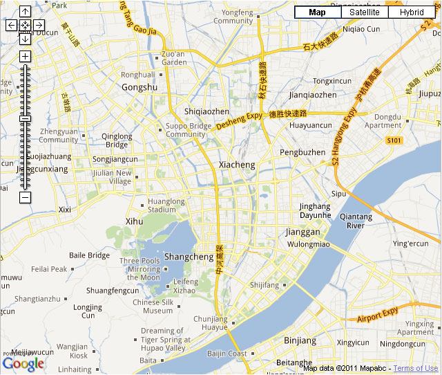 Map of Hangzhou city hotels linkable on the map Hangzhou roads map