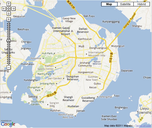 Xiamen Map Hotels Identifiable On The Map Xiamen City Roads Map
