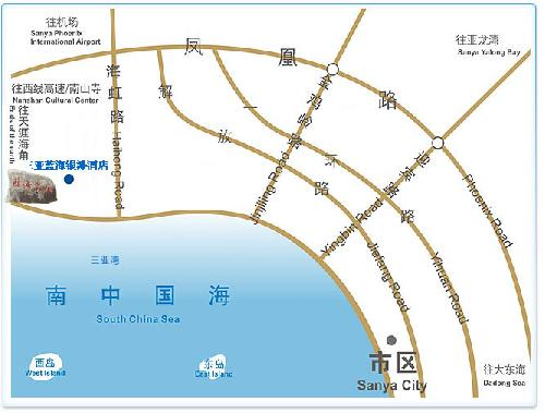 Blue Ocean Silver Beach Hotel - Sanya Map