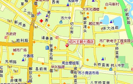 Dynasty Hotel, Shaoxing Map