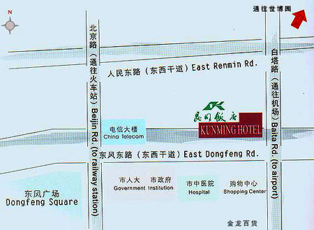 Kunming Hotel Map Kunming Hotel Map