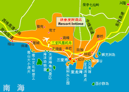 Resort Intime, Sanya Map