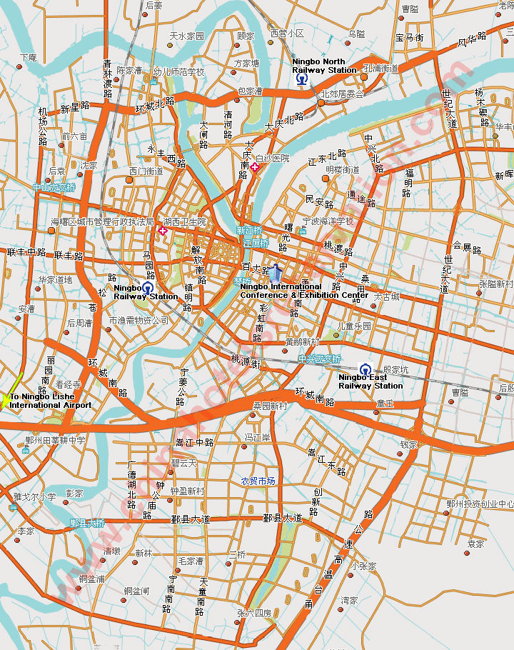 Ningbo Map Hotels Displayed On The Map Ningbo Roads