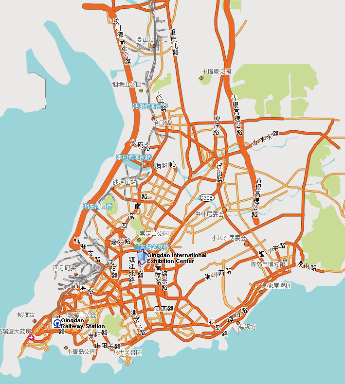 Map street of Qingdao hotels visible on the map map roads of
