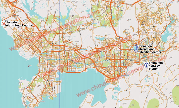 Shenzhen map of city hotels viewable on the map Shenzhen roads map