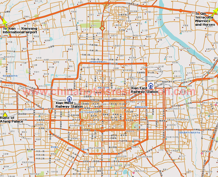 Map of Xian hotels indicated on the map Xian roads map – Xian Tourist Map