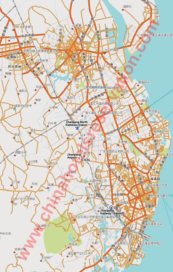 ... map of Zhanjiang, street map, Zhanjiang guide, Zhanjiang roads map